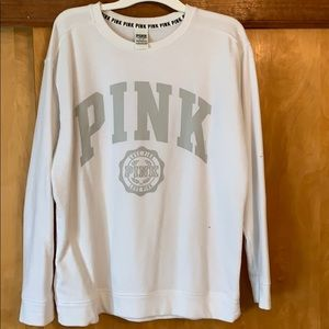 PINK white crew pull over with gray writing